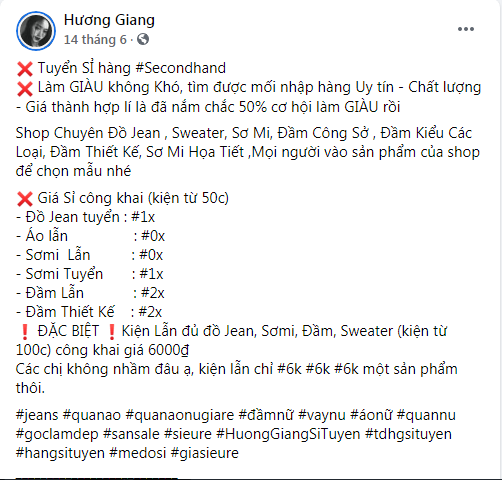 tuyển sỉ trên facebook